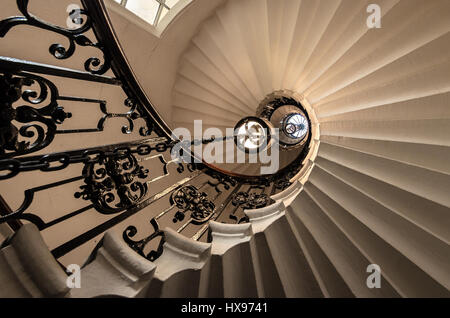 London Southbank Greenwich Maritime Royal Naval College neo classical Chapel spiral helical staircase - Stock Photo