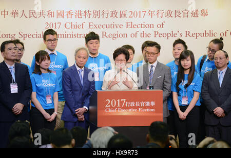 Hong Kong, China. 26th Mar, 2017. Lam Cheng Yuet-ngor meets the press after winning the election in Hong Kong, south - Stock Photo
