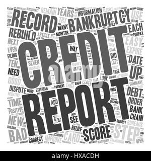 Easy Steps to Rebuild Your Credit after Bankruptcy text background wordcloud concept - Stock Photo