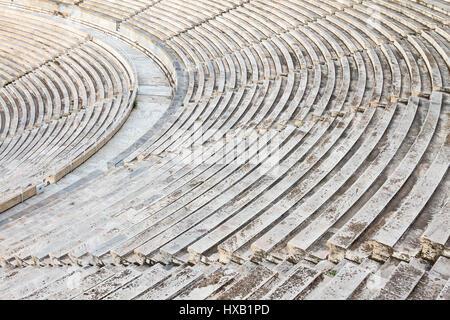 Partial view of Panathenaic stadium or Kallimarmaro as it is also known, in Athens, Greece. - Stock Photo