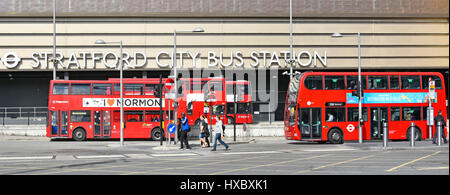 London bus Stratford City bus station at the London Westfield shopping centre adjacent to Queen Elizabeth Olympic - Stock Photo