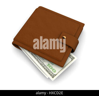3d illustration of leather wallet with banknotes inside, over white background - Stock Photo