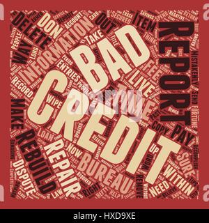 How To Wipe Out Bad Credit And Rebuild Your Credit Report text background wordcloud concept - Stock Photo