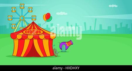 Circus horizontal banner, cartoon style - Stock Photo