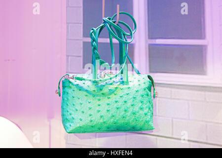 Mipel, italian luxury handbag fair: assorted bags and leather luggage inside the fair, made in italy, rho fiera - Stock Photo