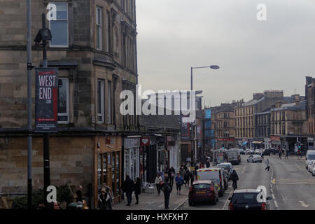 byres road Glasgow street looking south west end - Stock Photo