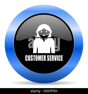 Customer service black and blue web design round internet icon with shadow on white background. - Stock Photo
