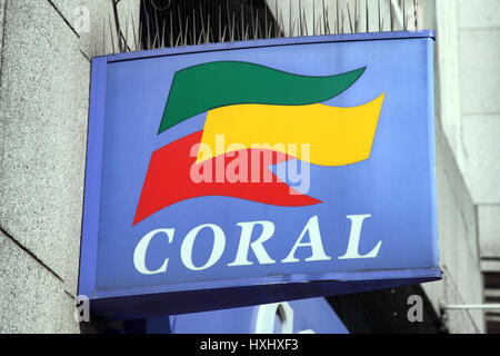 London, UK, April 9, 2011:  Coral bookmakers betting shop logo advertising sign outside one of its retail branches - Stock Photo