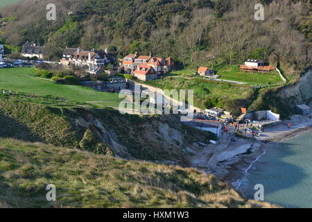 Lulworth cove near the village of West Lulworth in Dorset, Southern England - Stock Photo