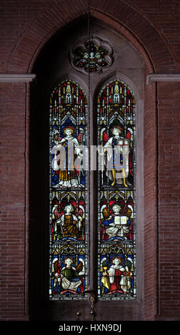 Archangels on the stained glass of All Saints' Anglican Church, Rome, Italy - Stock Photo