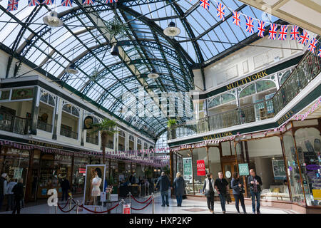 The Wayfarers Arcade, a Grade 2 listed building located on the famous boulevard of Lord Street in the seaside town - Stock Photo