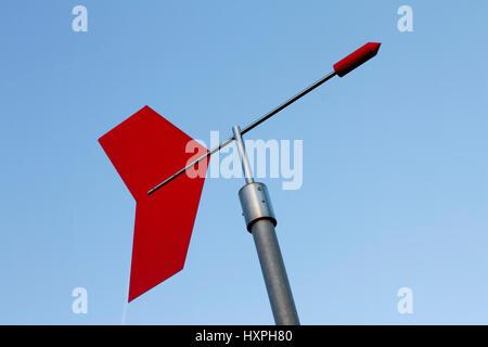 Wind direction indicator weather park Offenbach, Windrichtungsanzeiger Wetterpark Offenbach - Stock Photo