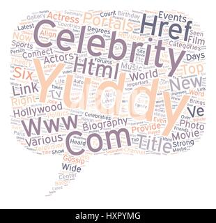 yuddy com provides the celebraties and biography of top Hollywood Actress and Actors text background wordcloud concept - Stock Photo