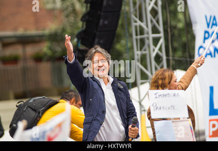 Quito, Ecuador - March 26, 2017: Guillermo Lasso, presidential candidate of CREO SUMA alliance in his election campaign - Stock Photo