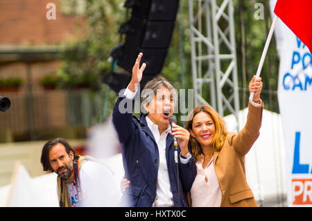 Quito, Ecuador - March 26, 2017: Guillermo Lasso, presidential candidate of CREO SUMA alliance with his wife during - Stock Photo