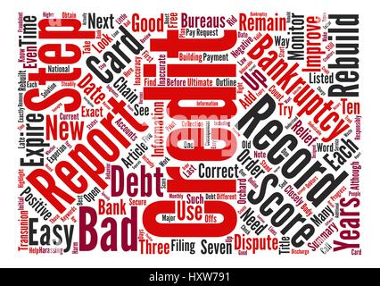 Easy Steps to Rebuild Your Credit after Bankruptcy text background word cloud concept - Stock Photo