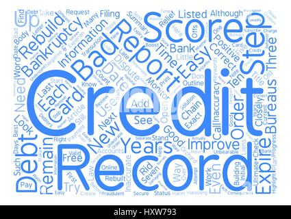 Easy Steps to Rebuild Your Credit after Bankruptcy Word Cloud Concept Text Background - Stock Photo
