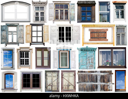 Old and modern windows iwith wooden and plastic frames and open or closed sun blinds set. Isolated on white. All - Stock Photo