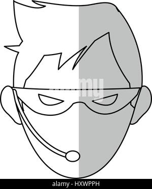 hacker man cartoon icon over white background.  vector illustration - Stock Photo