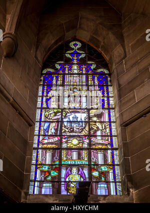 Stained glass window on first level of Scott Monument in Princes Street Gardens East, Edinburgh. - Stock Photo