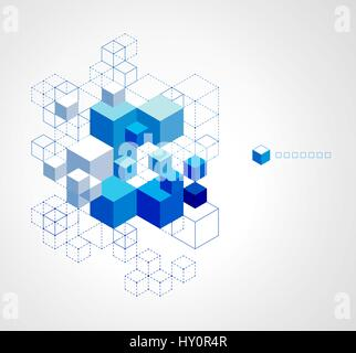 Abstract blue cubes background. - Stock Photo