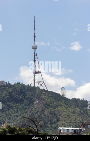 View of the mountain on which the Tbilisi TV-tower stands - Stock Photo