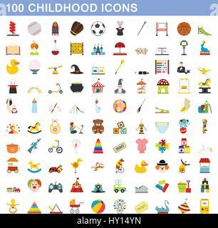 100 childhood icons set, flat style - Stock Photo