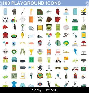 100 playground icons set, flat style - Stock Photo