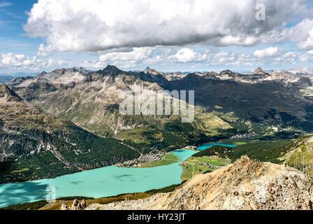 View from Corvatsch torwards Silvaplana, Engadin, Switzerland. | Aussicht auf den Silvaplaner See und Silvaplana, - Stock Photo