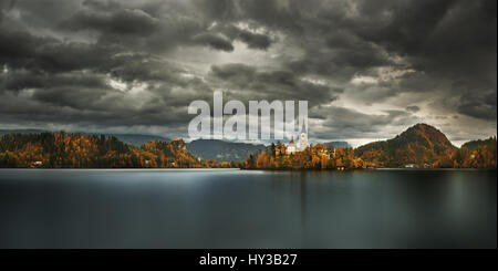 Slovenia, Gorenjska region, island of the Bled lake, church of the Assumption - Stock Photo