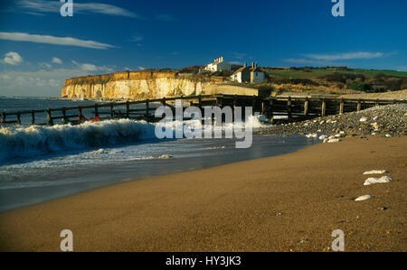 England, East Sussex, Seven Sisters, Cuckmere Haven, View along coastline towards chalk cliff and two hundred year - Stock Photo