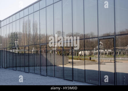 The Centennial Hall (Hala Stulecia) in Wroclaw. Glass wall. Poland. - Stock Photo