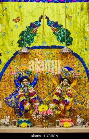 Ariel - 16 February 2017: Sri Sri Nitay-Gauracandra deities - Stock Photo