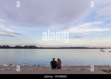 BELGRADE, SERBIA - OCTOBER 2, 2016: Lovers looking together at the Danube river in fall on the bank of Zemun district - Stock Photo