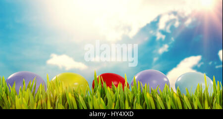 Grass growing outdoors against blue sky - Stock Photo