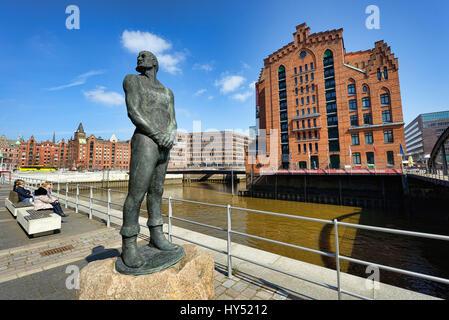 Klaus-Stoertebeker-Statue before the international maritime museum in the harbour city of Hamburg, Germany, Europe, - Stock Photo