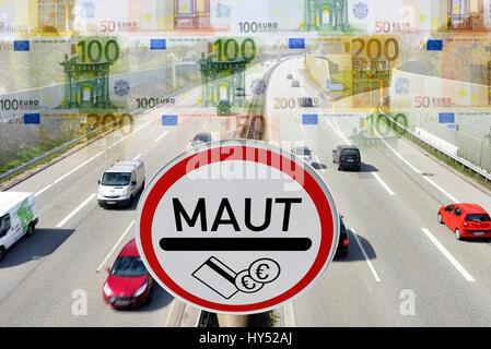 Highway, toll sign and bank notes, symbolic photo passenger car toll, Autobahn, Maut-Schild und Geldscheine, Symbolfoto - Stock Photo