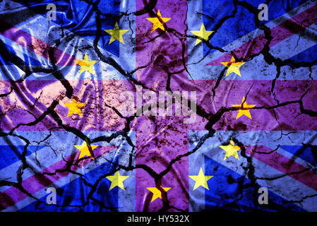 European flag and Great Britain flag with tears, symbolic photo Europe after the Brexit vote, Europa- und Gro?britannien - Stock Photo