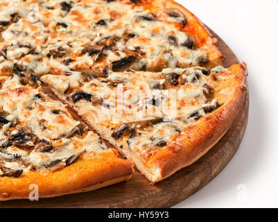 piece of pizza with mushrooms isolated - Stock Photo