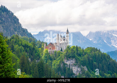 Original view of world-famous Neuschwanstein Castle at day, Germany, European landmark. - Stock Photo