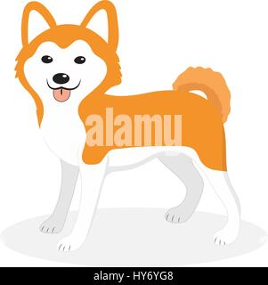 Akita Inu breed dog icon, flat, cartoon style. Cute puppy isolated on white background. Vector illustration, clip - Stock Photo