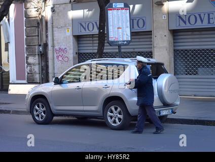 Ticket, parking, Catania, Sicily, Italy, Strafzettel, Parken, Sizilien, Italien - Stock Photo