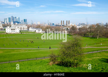 View of Canary Wharf from Greenwich Park, Greenwich, London - Stock Photo