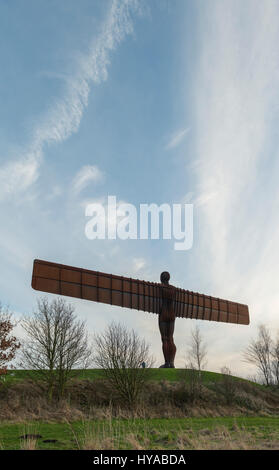 Angel of the North sculpture at dusk, Gateshead,Tyne and Wear,England - Stock Photo
