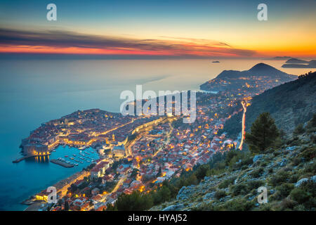 Dubrovnik, Croatia. Beautiful romantic old town of Dubrovnik during sunset. - Stock Photo
