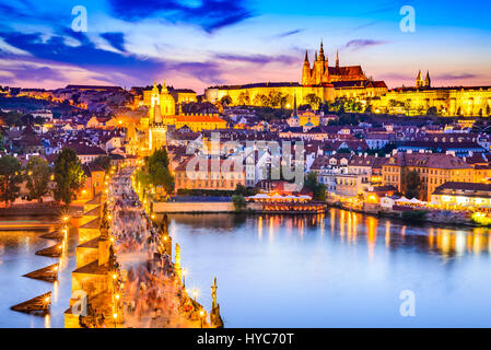 Prague, Czech Republic. Charles Bridge and Hradcany (Prague Castle) with St. Vitus Cathedral and St. George church - Stock Photo