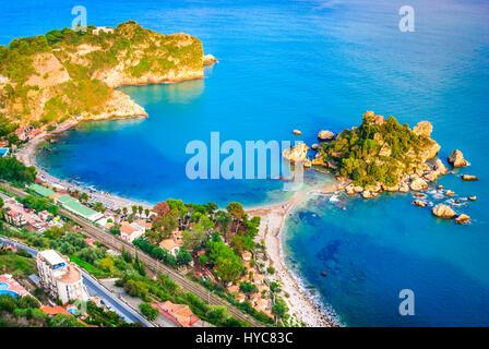 Taormina, Sicily. Sicilian seascape with beach and island Isola Bella in Italy. - Stock Photo