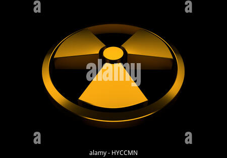 Nuclear symbol. Orange glossy object isolated on the black background. 3D render illustration. - Stock Photo