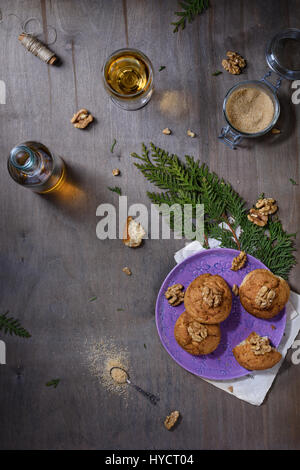 Oatmeal cookies with walnuts and white wine. Freshly baked pastry. Top view, copy space. - Stock Photo
