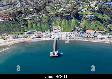 Aerial of Malibu Pier State Park and Pacific Coast Highway near of Los Angeles California. - Stock Photo
